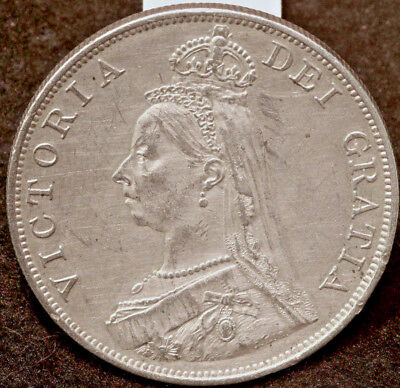 Queen Victoria  Jubilee Head  Double Florin (4 Shillings) 1887  Extremely Fine