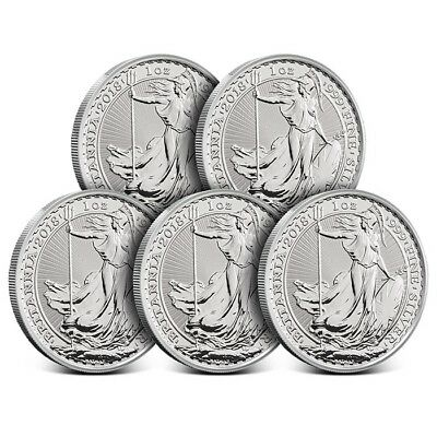 Lot of 5- 2018 Great Britain UK 1 Oz Silver £2 Britannia Coin - Gem Uncirculated