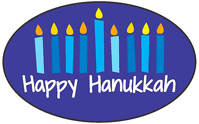 "Happy Hanukkah LABELS 500 PER ROLL GREAT STICKERS 1.25"" x 2"""