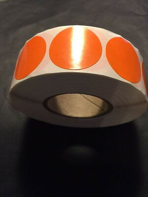 """1"""" Round ORANGE Circle LABELS 1000 PER ROLL GREAT STICKERS"""