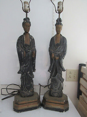 Pair Of Large Vintage Oriental Figurine Chalkware Table Lamps For Restoration
