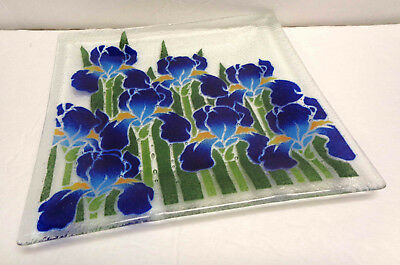 "Signed Peggy Karr Fused Glass 10"" x 10"" Square Blue Iris Plate Platter EUC!"