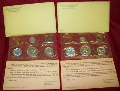 1961 P Two Silver Proof Sets 6 Coins Silver .900 Total 10 Coin Mint Org  Pkg