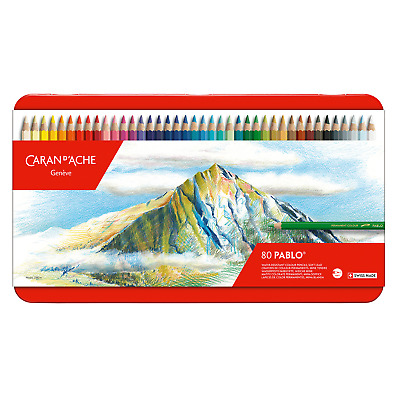 Caran D'Aache Pablo Permanent Colour Pencils Tin of 80 Artist Coloured Pencil