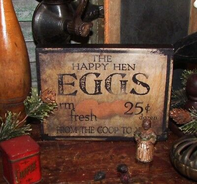 Primitive Vtg Style Retro Old Country Farm Fresh Chicken Hen Eggs Canvas Sign