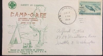Boy Scout Camp-Oree; Troop 104, Ft. Orange Council June,1958 Special Event Cover