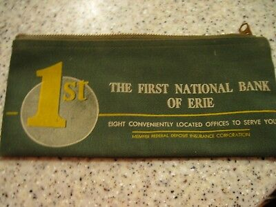 Vintage FIRST NATIONAL BANK OF ERIE (PA) Money Deposit Bag CANVAS ZIPPER
