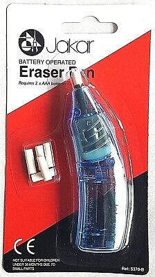 Blue Electric Eraser Pen Battery Operated Automatic Art Craft Rubber + Refills