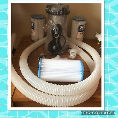New Intex Pool Large 604 Krystal Clear Filter Pump 3 New Filters Hose connecters