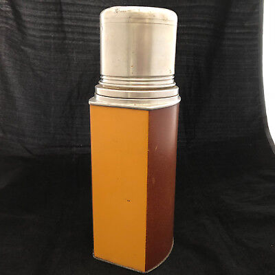 Vintage The American Bottle Co Rectangular Metal Thermos w/ Cork Stopper and Cup