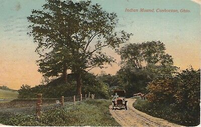 1914 Early Auto on Indian Mound Road Coshocton Ohio OH Postcard