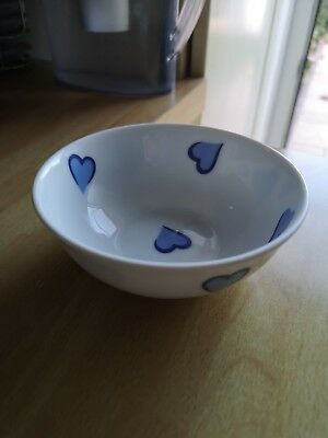 D. Porthault Royale Limoges Blue Hearts Small Bowl