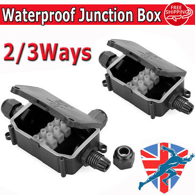 Packs 2 / 3 Way Outdoor Waterproof IP66 Cable Connector Junction Box 240v UK