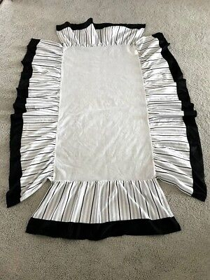 LAMB & IVY Black Gray White Striped Crib Skirt Dust Ruffle