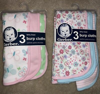6 Pack Gerber Terry Lined Baby Girl Burp Cloths