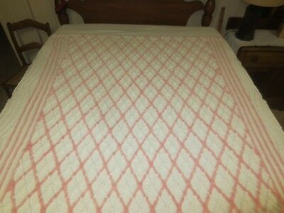 "Vintage PLUSH PINK & WHITE Cotton CHENILLE Bedspread CUTTER - 88"" x 102"""
