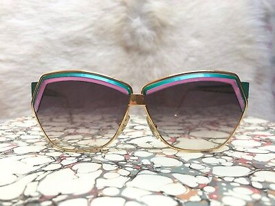Vintage Leonard of Paris super cool sunglasses turquoise & pink with gold