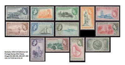 Barbados 1953 Full Definitive Set Postage Stamps Mint Never Hinged SG 289-294, 2