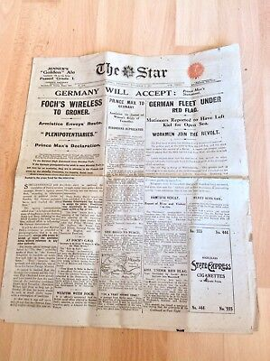 WW1 Rare London Newspaper The Star Nov 7th 1918 Armistice Signed,Germany Accept
