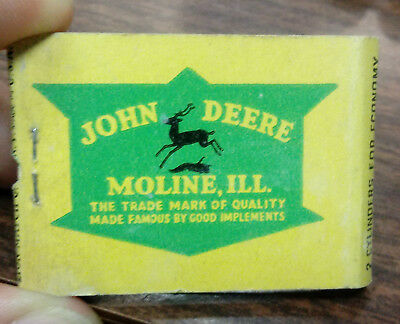 Old 1930 JOHN DEERE Two Cylinder TRACTOR Feature MATCHBOOK Jurgens Ortonville MN