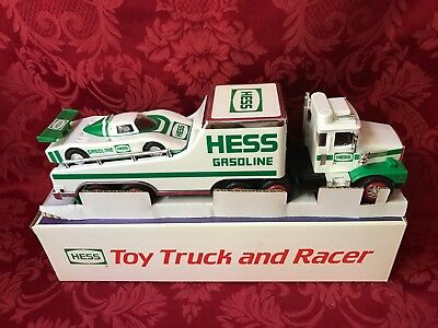 """1988 HESS """"TOY TRUCK and RACER"""" """"FORMULA ONE STYLE RACE CAR"""" NEW IN BOX-MINT"""