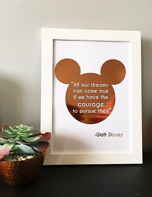Foiled Disney Quote Real Rose Gold, Gold Foil Wall Art Sign Mickey Mouse Bedroom