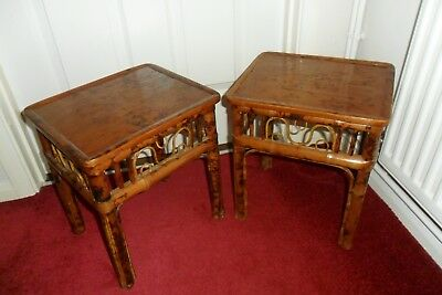 PAIR OF OLD small BAMBOO SIDE TABLES collect WILTSHIRE