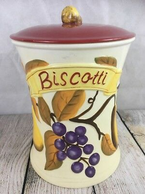 """Hand Made for Nonni's Biscotti Cookie Jar Fruit Pear Handle Lid 11"""" High"""