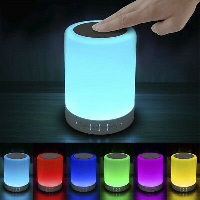 Elecstars Touch Bedside Lamp with Bluetooth Speaker, Dimmable Color Night Light