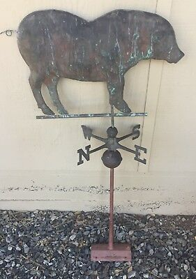 Rare Antique Copper Brass Pig Weathervane Ready To Mount On Your Barn Farmhouse