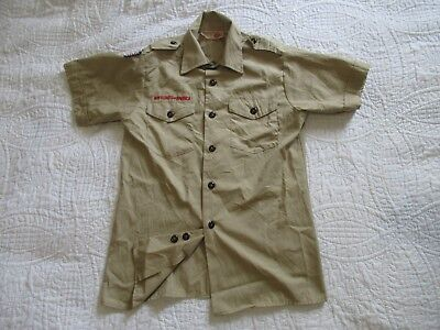 BSA  Boy Scout Uniform Shirt Youth LARGE SS MADE IN USA 65%Poly/ 35%Cotton