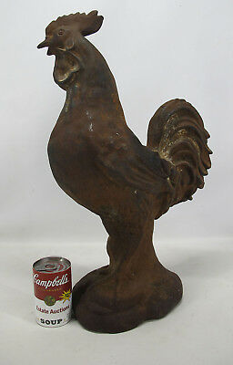 Antique c 1899 Cast Iron English Chicken Rooster Garden Wall Finial Statue 3 yqz