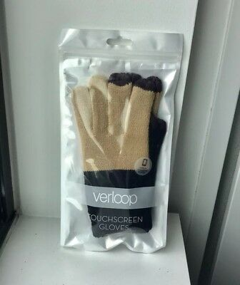 NWT Verloop Women's Camel/Black/Purple Colorblock Touch Screen Gloves - One Size