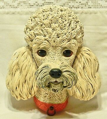 Vintage Bossons Congleton England Chalkware Creamy White & Gray Poodle Plaque