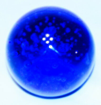 STUNNING VINTAGE COBALT BLUE GLASS ROUND PAPERWEIGHT w/ TINY AIR BUBBLES-3.25""