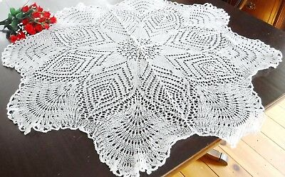 """White Needle Lace Table Doily Table Center Vintage 34"""" wide HM Round"""