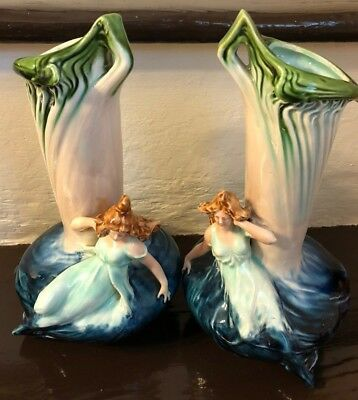 Majolica Vase Art Nouveau Woman Reclining in Water 9 3/4 in PAIR