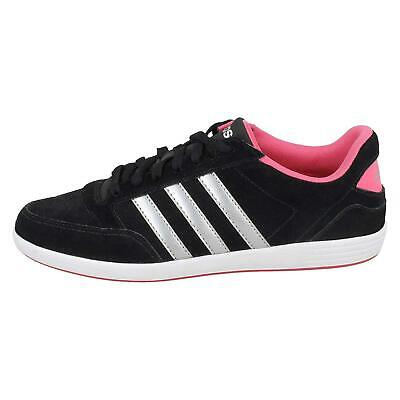 ADIDAS NEO WOMENS Hoops Black and Pink Low Top Lace Up Trainers ...