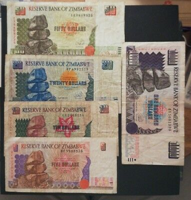 Zimbabwe 5 different banknotes
