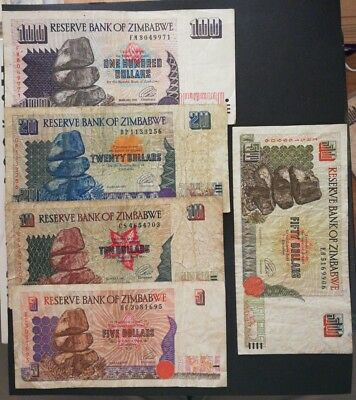 Zimbabwe 5 different banknotes 1990s