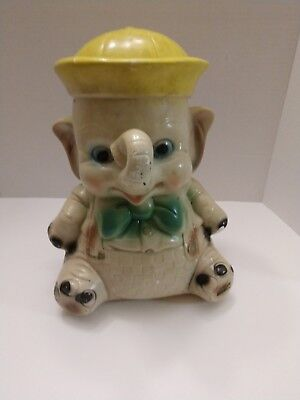 Vintage Elephant Bank Baby Sailor Carnival Chalkware ~ Hole is closed ~ 12  x 8""