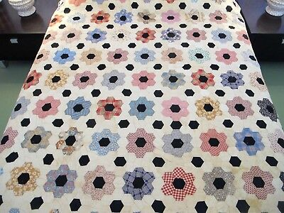 FULL Vintage Feed Sack & Shirting Hand Sewn FLOWER GARDEN Quilt, Nice Fabrics !