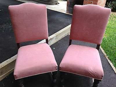 2 x Vintage Pink Velvet Shabby Chic Chairs 1920's 1930s Style Accent Chair