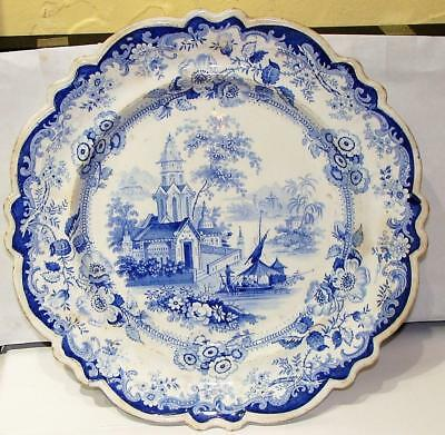 "Staffordshire Blue Transfer Plate, ""PRIORY - H.M.J."", c. 1850"