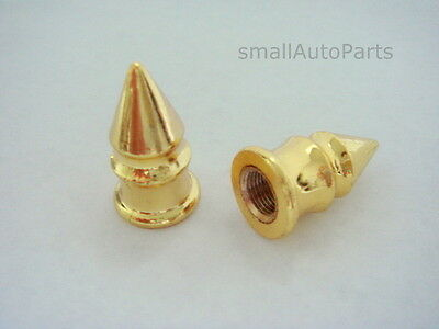 2 Motorcycle/Bike/Bicycle/BMX Gold Yellow Spike Tire/Wheel Stem Valve CAPS Cover