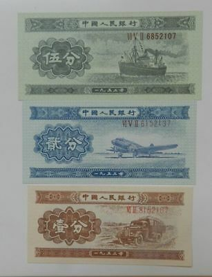 China printed in 1953 0.01 0.02 0.05 yuan denomination Numbering:6852107
