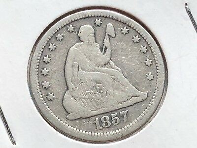 1857-P SEATED LIBERTY QUARTER 25 Cents