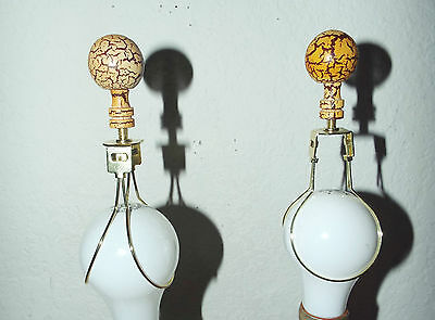 "LAMPSHADE  PAIR OF 2"" ROUND CERAMIC FINIALS w/ BULB CLIP ATTACHMENT AWESOME!!!"