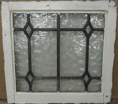 "OLD ENGLISH LEADED STAINED GLASS WINDOW Simple Diamonds No Color 20.75"" x 19.5"""