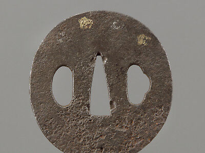 Edo period Antique Orig Iron Tsuba Japanese Sword fittings Wakizashi Koshirae